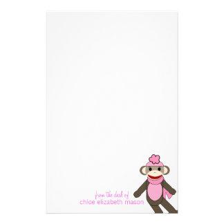 Super Cute Girly Girl Sock Monkey Stationery