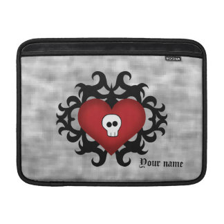 Super cute gothic damask skull heart black and red MacBook sleeves