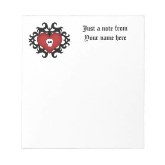 Super cute gothic damask skull heart black and red memo notepad