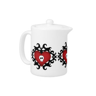 Super cute gothic damask skull heart black and red teapot