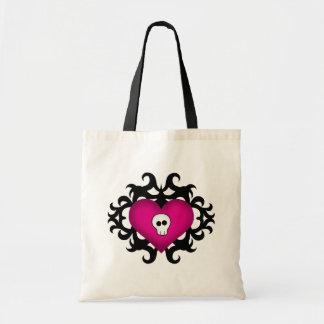 Super cute gothic damask skull heart black fuschia budget tote bag