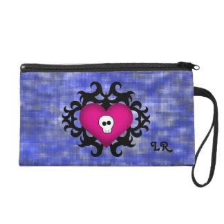 Super cute gothic damask skull heart fuschia blue wristlet purse