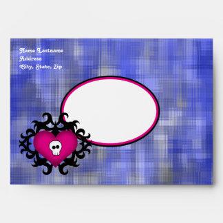Super cute gothic damask skull heart fuschia blue envelopes