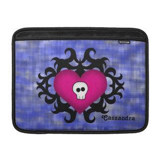 Super cute gothic damask skull heart fuschia blue MacBook air sleeves