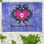 Super cute gothic damask skull heart fuschia blue kitchen towel