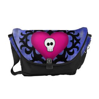 Super cute gothic damask skull heart fuschia blue messenger bags