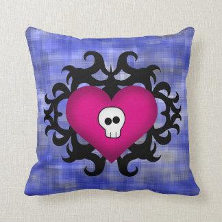 Super cute gothic damask skull heart fuschia blue throw pillows