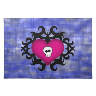 Super cute gothic damask skull heart fuschia blue placemat