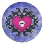 Super cute gothic damask skull heart fuschia blue dinner plates