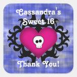 Super cute gothic damask skull heart fuschia blue sticker