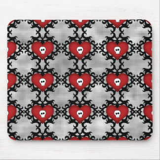 Super cute gothic damask skull hearts mouse pad