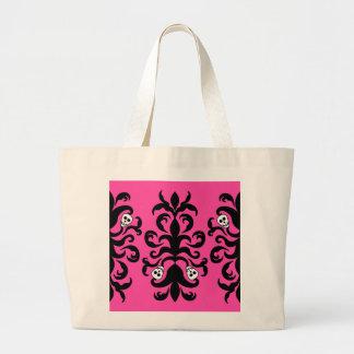 Super cute gothic skull damask large tote bag