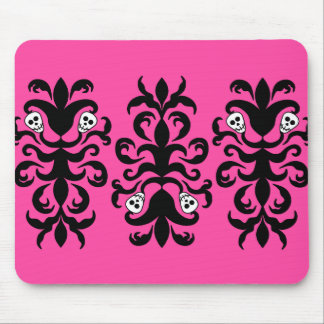 Super cute gothic skull damask mouse pad