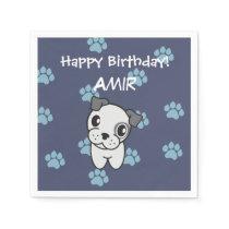 Super Cute Grey and Blue Bulldog Birthday Napkin