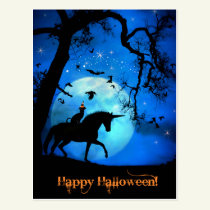 Super Cute Happy Halloween Cat and Unicorn Postcard