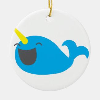 Super cute happy NARWHALE Ceramic Ornament