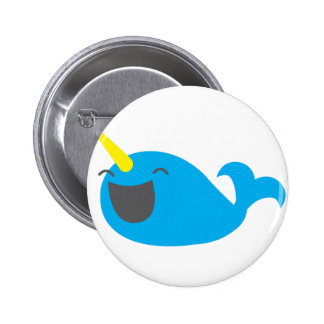 Super cute happy NARWHALE Pinback Button