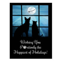 Super Cute Holiday Postcards, Dog and Cat Xmas Postcard