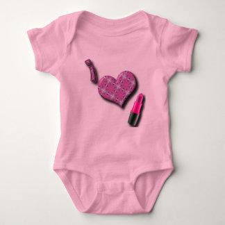 Super Cute I Love Lipstick  Design Baby Bodysuit