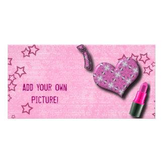 Super Cute I Love Lipstick  Design Photo Greeting Card