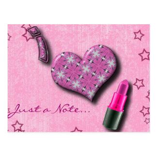 Super Cute I Love Lipstick  Design Postcard