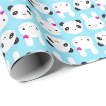 Super Cute Kawaii Bunny and Panda Wrapping Paper