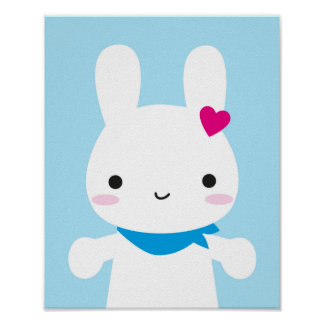 Super Cute Kawaii Bunny Poster