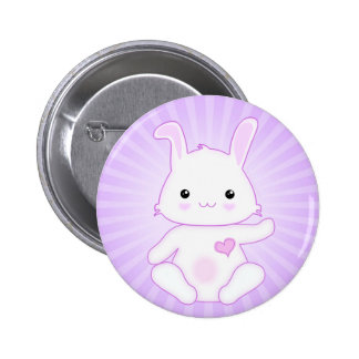 Super Cute Kawaii Bunny Rabbit in Lilac and White Button