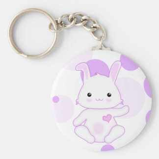 Super Cute Kawaii Bunny Rabbit in Lilac and White Keychain
