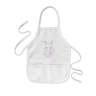 Super Cute Kawaii Bunny Rabbit in Lilac and White Kids' Apron
