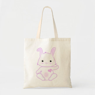 Super Cute Kawaii Bunny Rabbit in Lilac and White Tote Bag