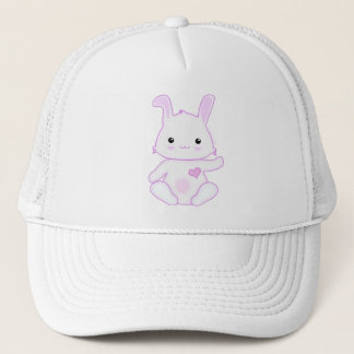 Super Cute Kawaii Bunny Rabbit in Lilac and White Trucker Hat