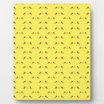 Super cute Kawaii face on yellow Display Plaques