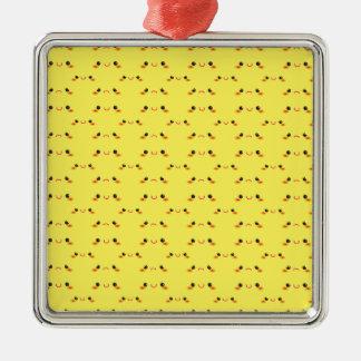 Super cute Kawaii face on yellow Metal Ornament