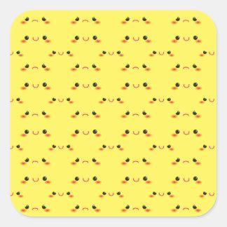 Super cute Kawaii face on yellow Sticker