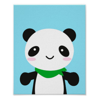 Super Cute Kawaii Panda Poster