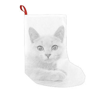 SUPER CUTE Kitten Portrait Small Christmas Stocking