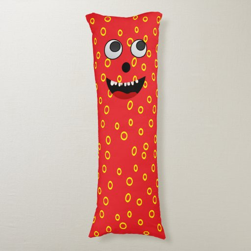 Cute Monster Pillow : Super Cute Monster Red snuggle body pillow Zazzle