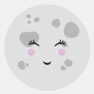 Super Cute & Nerdy Smiling Moon Face Classic Round Sticker