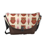 Super Cute Owls and Pink Trees Messenger Bag