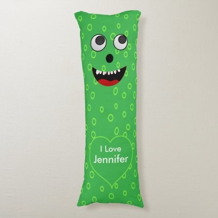 Super Cute Personalized Green Monster snuggle Body Pillow