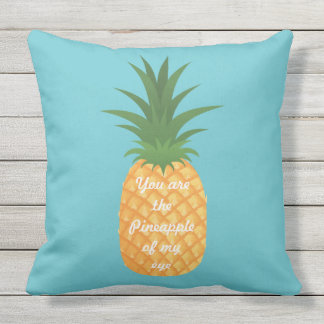 Super Cute Pineapple Graphic Love Quote Teal Throw Pillow