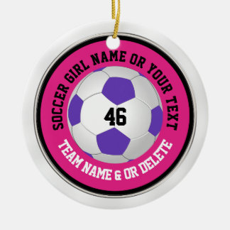 Super Cute Pink Soccer Ornaments with YOUR TEXT