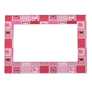 Super Cute Pug Valentine Quilt Photo Frame Magnet