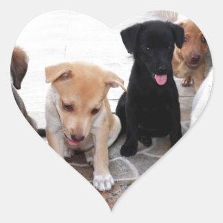 Super Cute Puppies Photo Heart Sticker