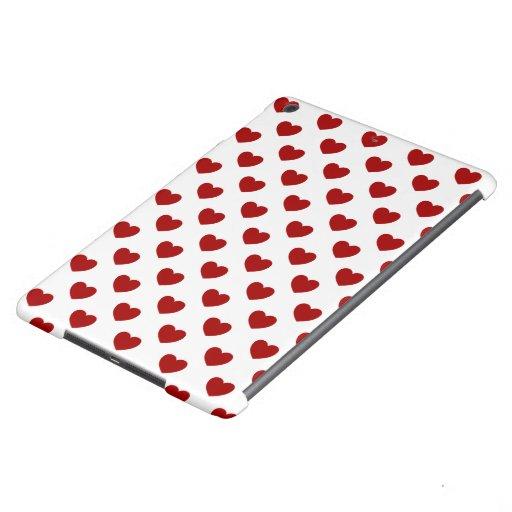 Super Cute Red Hearts On White Polka Dots Design iPad Air Cover