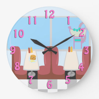 Super Cute Retro Fifties Diner Large Clock