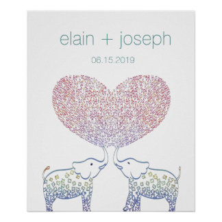 Super Cute & Sweet Elephant Heart Wedding Gift Poster