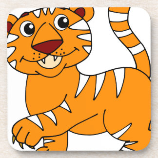 Super Cute Tiger Orange with White Stripes Beverage Coaster