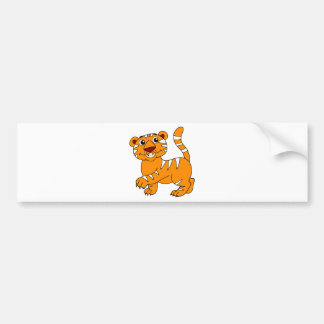 Super Cute Tiger Orange with White Stripes Bumper Sticker